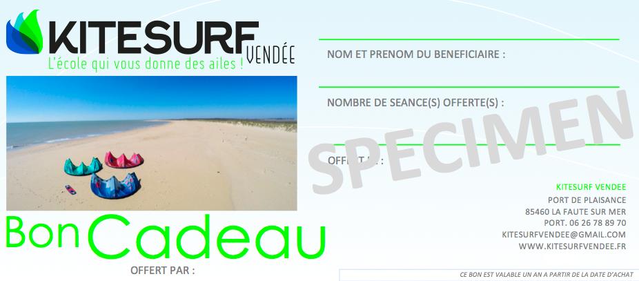 Bon Cadeau Kitesurf Vendee Ecole La Tranche sur Mer